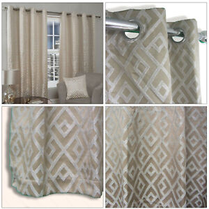 Taupe Latte Curtains Geometric Shimmer Lined Eyelet Top Ring Top Curtains Pair