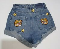 ONE TEASPOON DENIM SHORTS, WITH PATCHES, TIGER, STARS, SIZE 26, NEW WITH TAGS