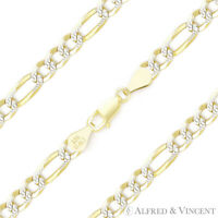 4mm Figaro Pave Link .925 Sterling Silver & 14k Yellow Gold Italy Chain Bracelet