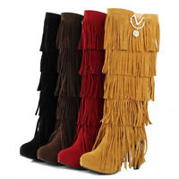 Tassel Fringe Knee High Block Heel Boots Women Ladies Suede Long String Combat