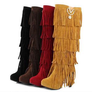 Tassel Fringe Knee High Block Heel Boots Womens Ladies Suede Long String Combat