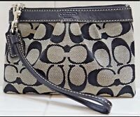Coach Signature Black & Grey Wristlet