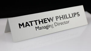 NAME DESK SIGN ALUMINIUM PERSONALISED VINYIL LETTERS 195mm x 50mm GOLD SILVER