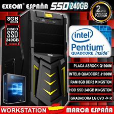 Ordenador Gaming Pc Intel Quad Core 9,6GHz 8GB 240GB SSD De Sobremesa Windows 10