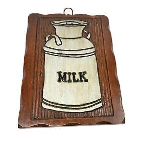 Vtg Milk Jug Wall Art Sign Wood Plaque Kitchen Farm Cottage Dairy Decration