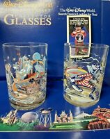 Vintage 2 Glass Cup Set - Disney World 25th Anniversary Lumiere And Goofy 14oz