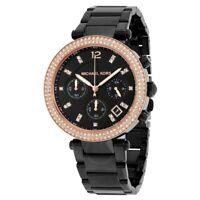 **NEW* LADIES MICHAEL KORS BLACK CRYSTAL PARKER ROSE GOLD WATCH MK5885 -RRP £259