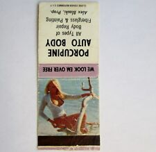 Pinup Girl We Look Em Over Vintage Matchbook Auto Body Porcupine Saskatchewan