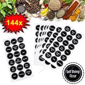 144pcs Herb Spice Jar Labels Black Vinyl Stickers Decals Waterproof – 37mm Round