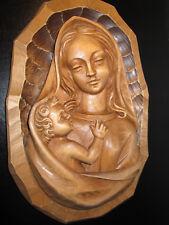 Madonna mit Jesuskind.Comploj Tirol Gröden ITALY.Holz Wandrelief  ca 34cm 1,5 Kg