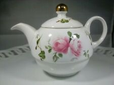 Arthur Wood & Sons Teapot- Staffordshire England Cabbage Rose Swirl Gold/pink/wh