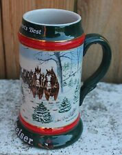 """Budweiser 1991 Holiday Beer Stein """"The Seasons Best"""" Clydesdales Anheuser Busch"""