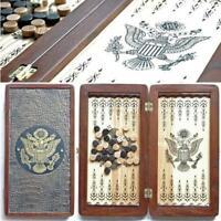 Watlux American Eagle Luxury Wooden Backgammon Leather Pieces Tournament Board