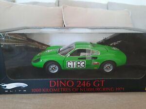 Ferrari dino 246 GT  1000  of nurburgring 1971 hotwheels elite 1/18  no kyosho