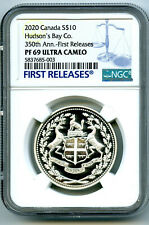 2020 $10 CANADA SILVER 350TH HUDSON'S BAY CO NGC PF69 UCAM PROOF FIRST RELEASES