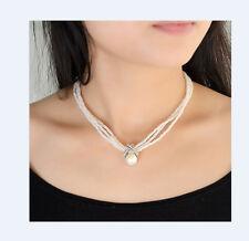 Perlenkette Perlen Halskette Hals Ketten Acryl  weiß 43cm