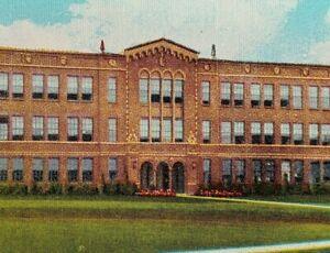 1930s Roosevelt Junior High School Newark Ohio Linen Postcard Vintage Street Vie
