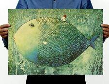 Fd3321 Vintage Big Fish Small House Retro Map Paper Posters Club Decor 51*35cm