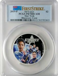 2019-P $2 Tuvalu Star Trek Discovery Crew 2oz .9999 Silver Coin PCGS PR70DCAM FS