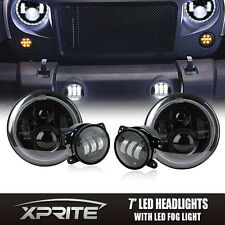 """7"""" 90W PHILIPS LED Projector Headlights Halo with Fog Light Combo For 07-17 Jeep"""