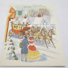 Vintage Christmas Greeting Card 1949 Merry Xmas Greetings Stage Coach Horses USA