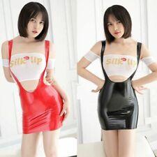 US Lady Shiny Latex Leather Bodycon Dress TOP Mini Nightwear Lingerie Set Party