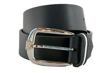 Brioni Men's Blue Calf Leather with Rubber Belt Silver Logo Buckle,Size 85 ,90