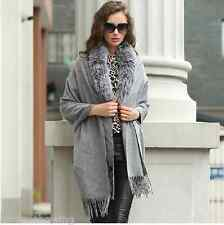 Soft/100%Wool 100%  Fox Fur collar Cloak Poncho /Coat/cape//Wraps/Gray