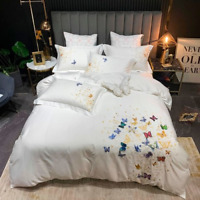 Chic Embroidery Butterfly Floral Cover Egyptian Cotton Bedding Set Bed Sheet