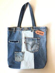 Levis Denim Tote Large Shoulder Bag Distressed Upcycled Blue Jeans Shopping Gym