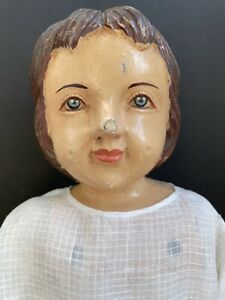 """Unidentified 22"""" Antique/Vintage OOAK Carved Wooden/Cloth Doll"""