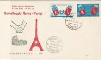 Italy 1959 Twinning of rome & Paris Eiffel Tower FDC two Stamps Cover ref 22409