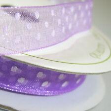 Organza Dotty Ribbon 10mm X 7 Metre Reel in Various Colours Lilac