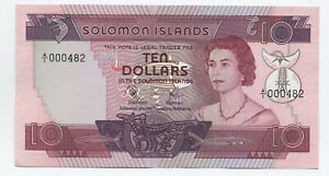 Solomon Islands $10 note #7a uncirculated QEII [y6461]