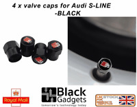 AUDI S LINE METAL Tyre Valve Dust Caps BLACK RS TT Q5 S5 S6 S3 U.K SELLER