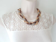 "Gorgeous 18"" long 3 tone gold, silver & brown colour plaited chain necklace"