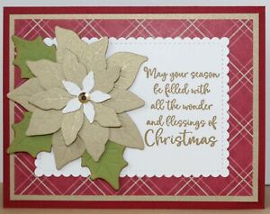 Poinsettia GREETING CARD KIT x4 ~ Handmade Stampin Up Christmas Brushed Gold