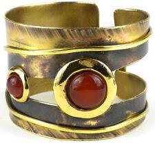 Brass Bracelet - Handmade Carnelian Cuff