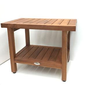 """Teak Wood Shower Bench Kiln Dried 24"""" with Shelf 18"""" X 24"""" X 14"""""""