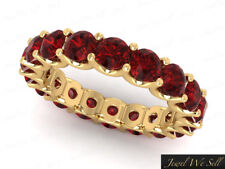 Natural 5.10Ct Round Ruby Shared U-Prong Eternity Band Ring 14k Yellow Gold AAA