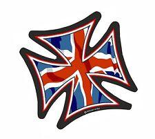 IRON CROSS & Union Jack Bandiera Britannica GBR casco da motociclista vinile Car Adesivo 95mm