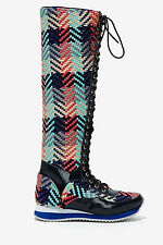 NEW JEFFREY CAMPBELL $268 MELANIE KNEE HIGH WOVEN SNEAKER BOOTS SHOES SZ 6