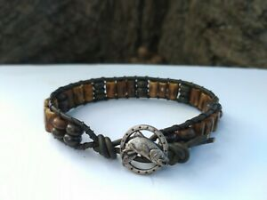 Great Gift Men's Army Green Leather Fishing Bracelet Carved Buffalo Bone Beads