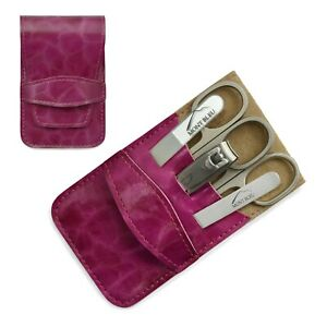 Mont Bleu 5-piece Manicure Set & Glass Nail File Eco-Leather Case ANNA FUCHSIA