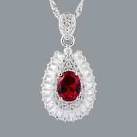 Schmuck Jewelry CZ 18K White Gold Gp Red Ruby Pear Pendant Necklace Free Chain
