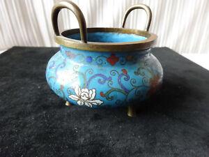 Joli petit vase tripode en bronze et en émaux cloisonné chine fin XIX ème