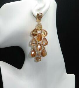 Handmade Natural Faceted Yellow Fluorite Earrings, Dangle Earrings Pin