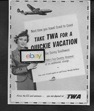TWA TRANS WORLD 1951 LOCKHEED CONSTELLATION & F/A FOR QUICKIE IN SOUTHWEST AD
