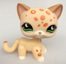 LPS Littlest Pet Shop Cat Leopard Cheetah Tan With Orange Spots Green Eyes CN