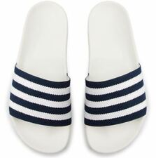 NEW ADIDAS ORIGINALS MEN'S ADILETTE SANDALS SLIDES ~ SIZE 10  #CG6436 WHITE BLUE